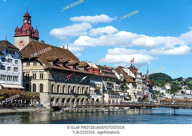 Lucerne Old Town riverside restaurants and pubs, Switzerland