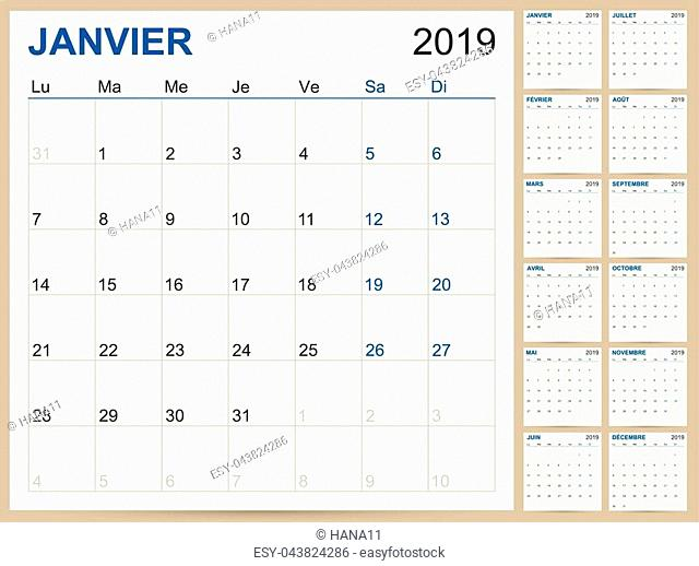 French planning calendar 2019, French calendar template for year 2019, set of 12 months, week starts on Monday, printable calendar templates vector illustration