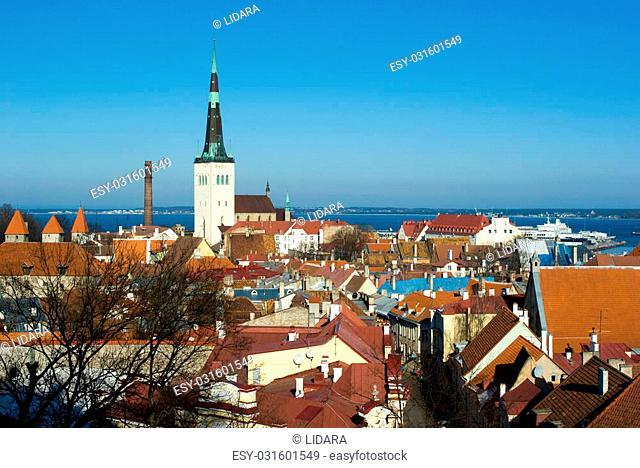 Old Talinn panorama with Baltic sea on background, Estonia