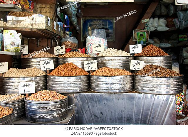 Amman, Jordan: Spices for sale in the downtown market of Amman in Jordan