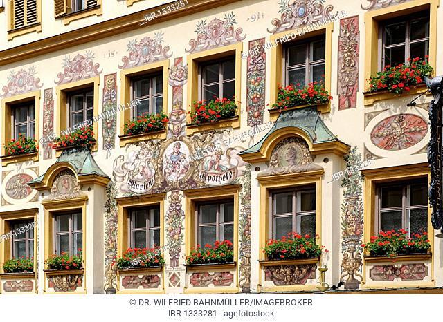 Lueftlmalerei, traditionally painted facade of the Marienapotheke pharmacy, historic centre of Traunstein, Chiemgau, Upper Bavaria, Germany, Europe