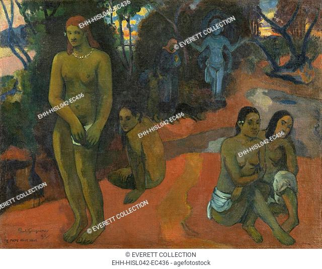 Te Pape Nave (Delectable Waters), by Paul Gauguin, 1898, French Post-Impressionist painting, oil on canvas. The blue goddess is the deity Hina