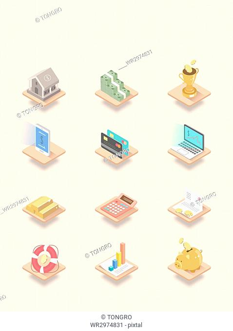 Various icons related to money