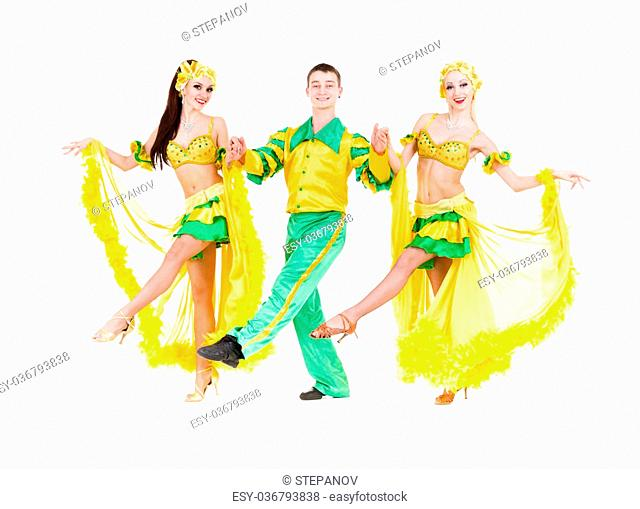 Sexy carnival dancers dancing against isolated white background