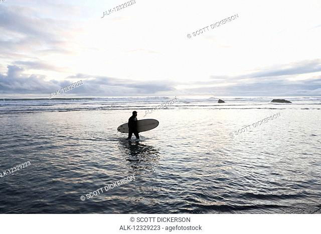 Surfer wading in the water with his surfboard, Southeast Alaska, Yakutat, Alaska, United States of America