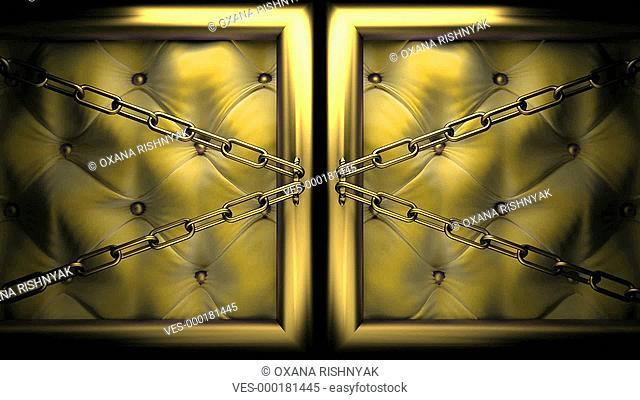 T?ren mit gelben Polstern und goldenem Rahmen ?ffnen sich und das Wort Exellent ist zu sehen
