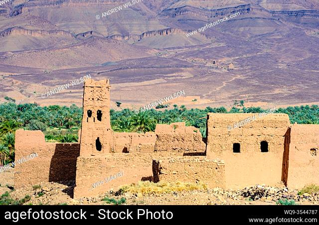 A ruined kasbah near Zagora in southern Morocco, Africa