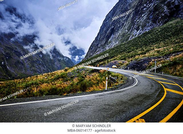 New Zealand, south island, Milford sound, winding street through the mountains, State highway 94, Milford Road