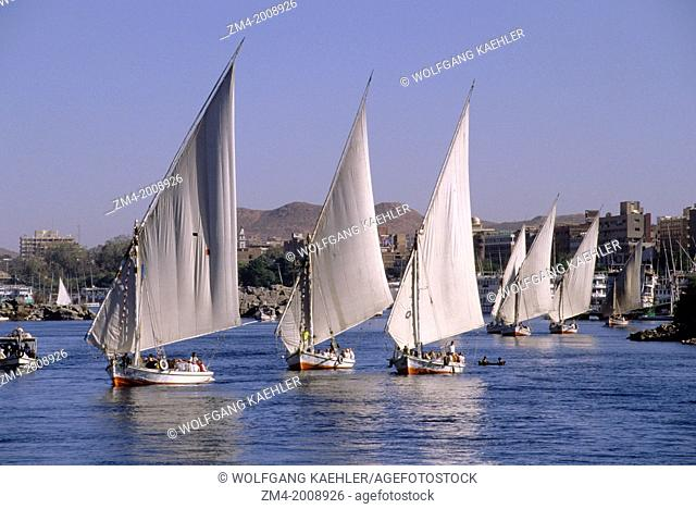 EGYPT, ASWAN, NILE RIVER, FELUCCAS WITH TOURISTS