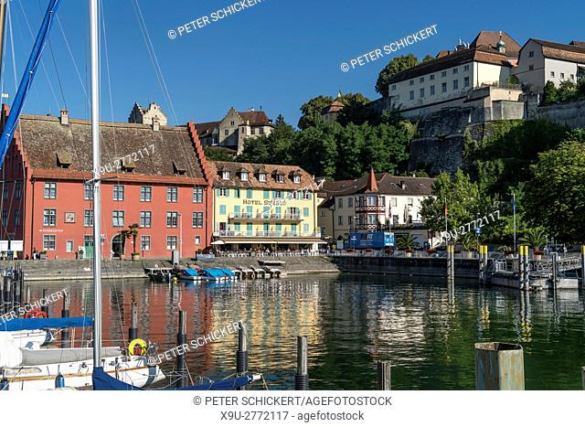 cityscape and harbour in Meersburg at Lake Constance, Baden-Württemberg, Germany,