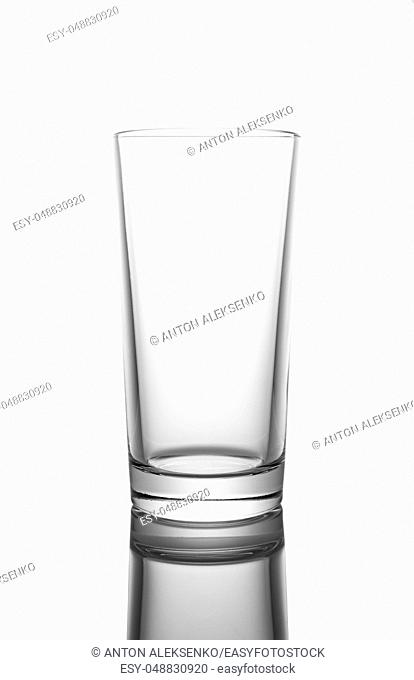 Empty clear glass, isolated on white background