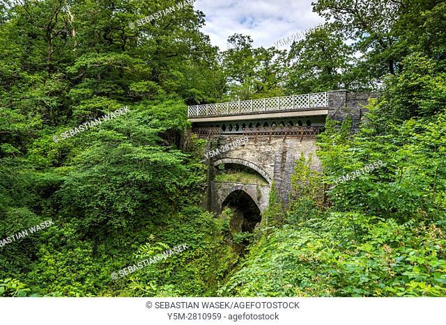 The three bridges, looking downstream, Devil's Bridge, Ceredigion, Wales, United Kingdom, Europe