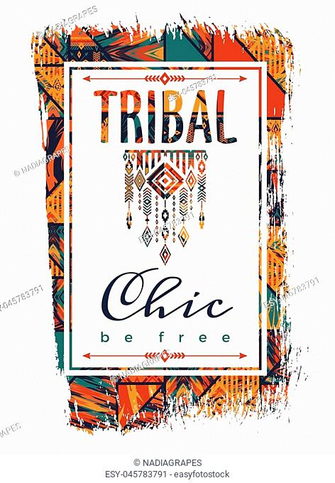Vector illustration with the slogan for t-shirts, posters, card and other uses. Boho chic. Ethnic style. Fashion trend