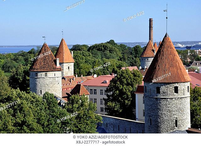 Estonia, Tallin, tower of medieval city