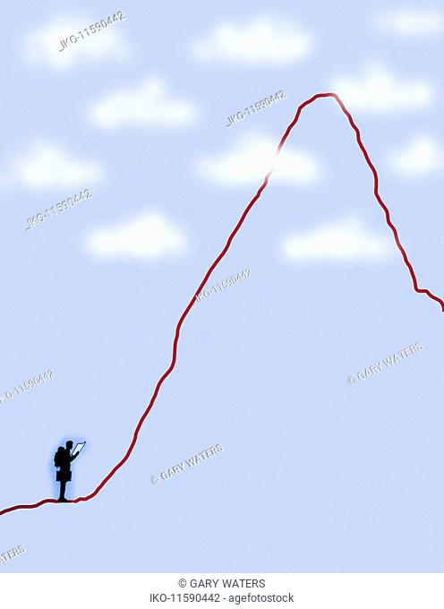 Businessman with backpack and map standing at base of steep line graph
