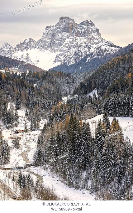 Pelmo mountain at winter