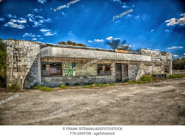 Abandoned storefront and market in rural South Carolina, USA