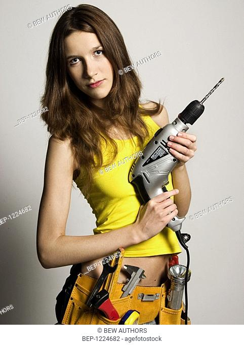 Woman with tool
