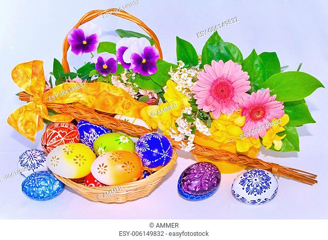 Easter decorations on white background