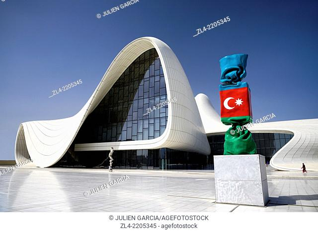 Heydar Aliyev cultural center futuristic monument designed by the architect Zaha Hadid and sculpture of the Azerbaijan national flag as candy figure by French...