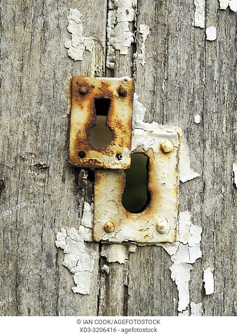 rusty door lock, Sarlat-la-Caneda, Dordogne Department, Nouvelle-Aquitaine, France