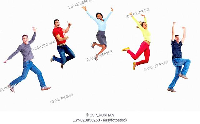 Group of happy jumping people
