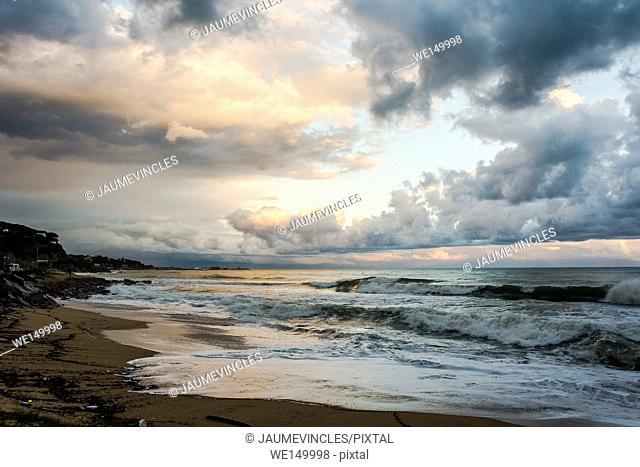 Beach scene, Arenys de Mar, Barcelona province, Spain