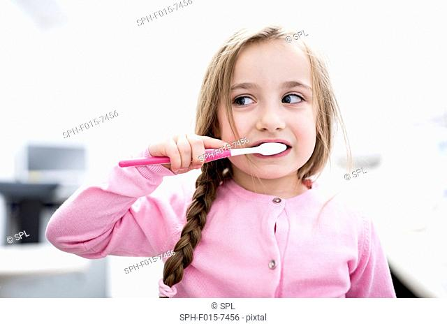 MODEL RELEASED. Girl brushing teeth, close-up