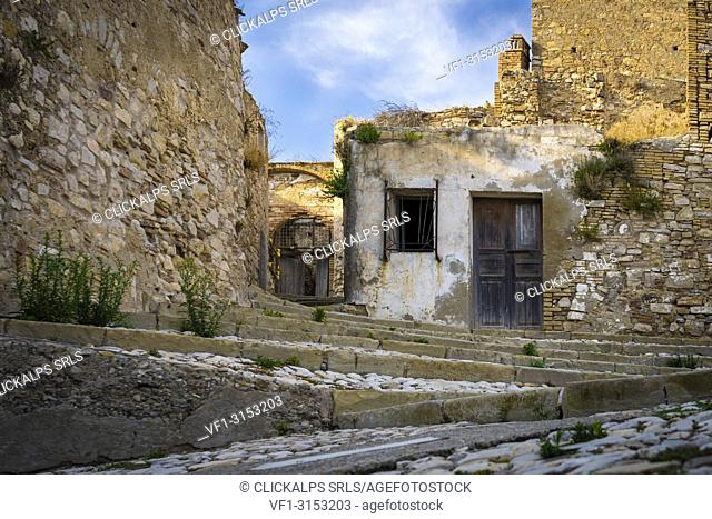 The ghost town of Craco, Matera province, Basilicata, Italy, Europe