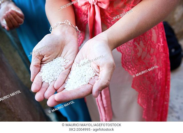 Close up hands full of rice prepared to be thrown in a wedding