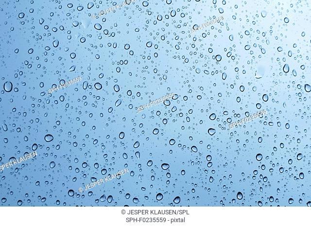 Rain drops on glass window, illustration