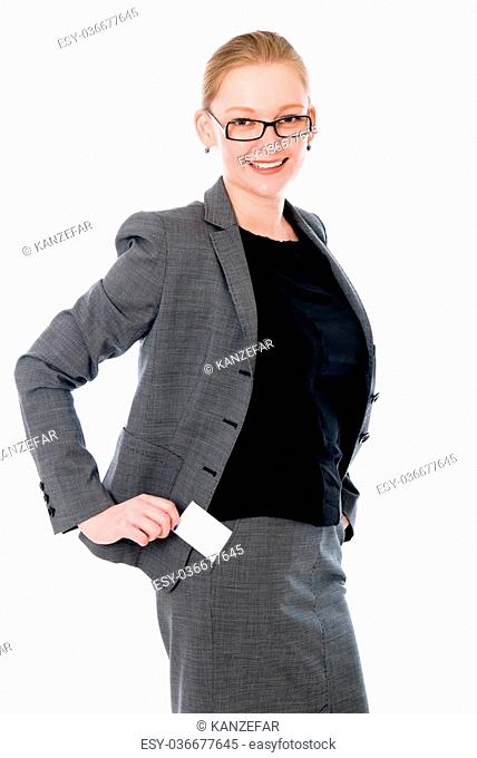 Bank employee with a credit card. cheerful girl