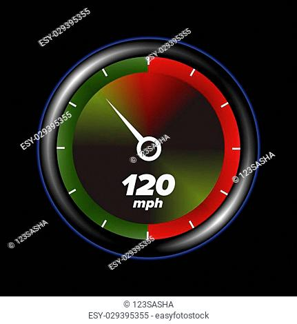 speedometr with black background and colored display
