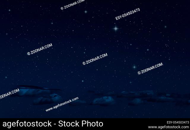 Night starry sky and clouds. Moonlight dark background and stars in the sky. Clean night backdrop