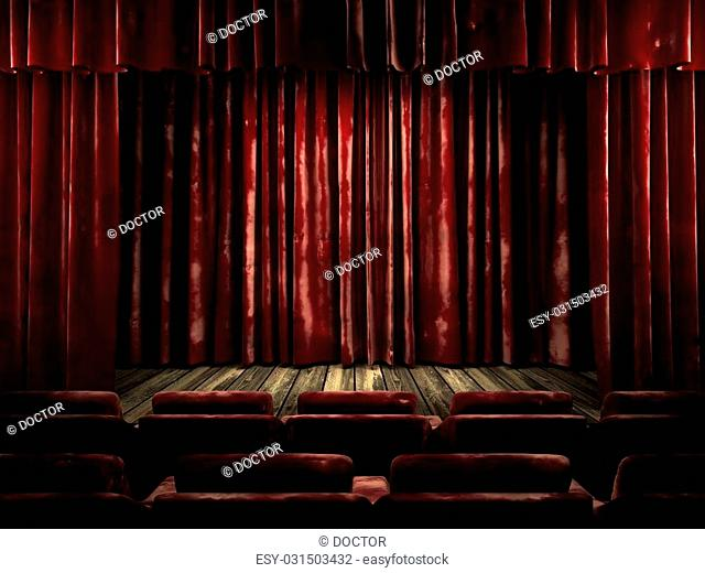red velvet curtain stage
