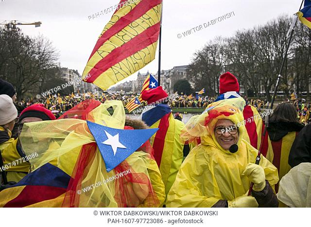 'Europe: Wake up! Let's stand up for democracy' Catalans hold the prostest in Brussels, Belgium on 07.12.2017 Around 45000 pro-Catalan independence protesters...