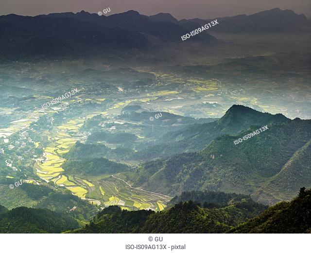 Elevated view of Tao Yuan, Hunan Province, China