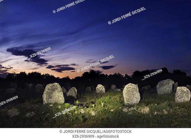 Megalithic Carnac stones, Alignements de Carnac, Carnac, Morbihan, Brittany, France, Europe