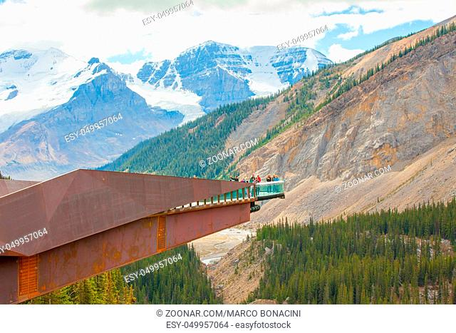 Athabasca Skywalks August 2015 In this no snow period, tourists come at Athabasca to visit this exciting cliff-edge walkway because it leads to a platform where...