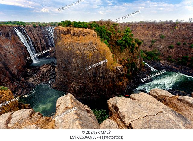 The Victoria falls is the largest curtain of water in the world (1708 meters wide). The falls and the surrounding area is the National Parks and World Heritage...