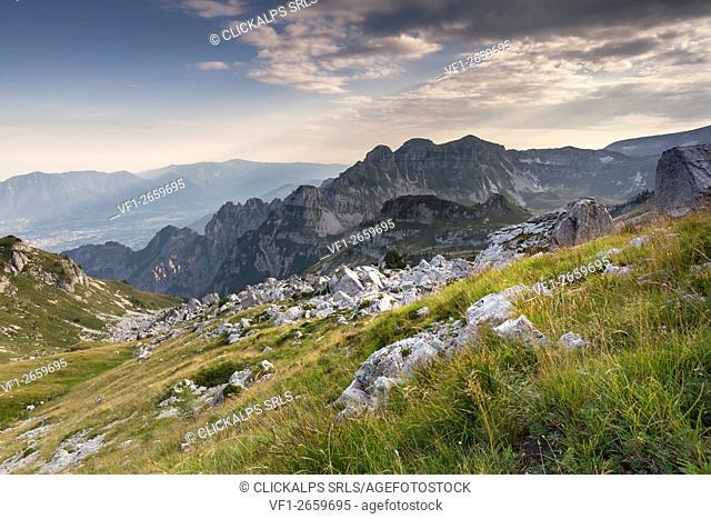 Europe, Italy, Veneto, Belluno. Landscape on the Piazza del Diavolo, Vette Feltrine. Dolomites, Belluno Dolomiti National Park