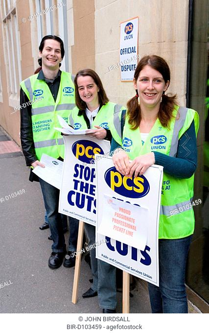 Union members demonstrating during strike action in Nottingham City Centre