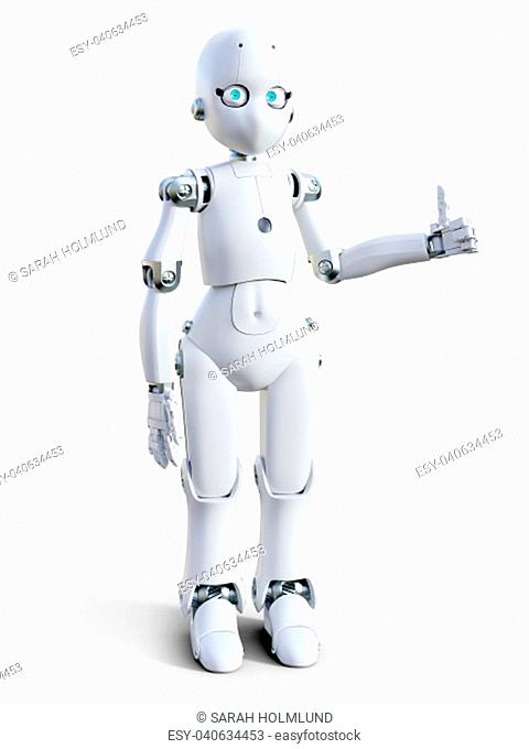 3D rendering of a white friendly cartoon robot doing a thumbs up. White background