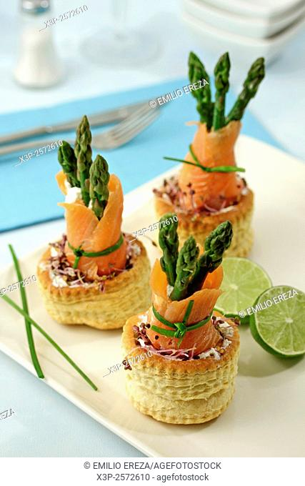 Salmon and asparagus vol au vents