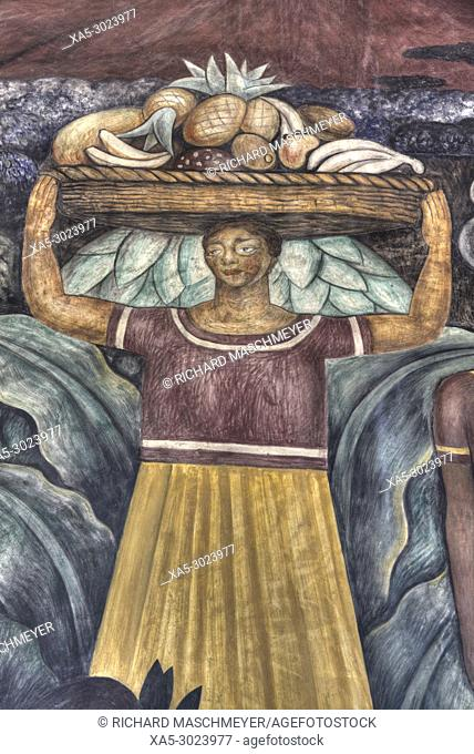 """Wall Mural, """"""""Tehuantepec Women"""""""", Painted by Diego Rivera, 1923, Secretariate of Education Building, Mexico City, Mexico"""