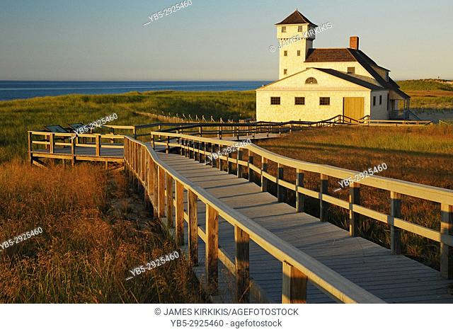 A boardwalk leads to the Race Point Coast Guard Station, The station sits near the tip of Cape Cod, Massachusetts