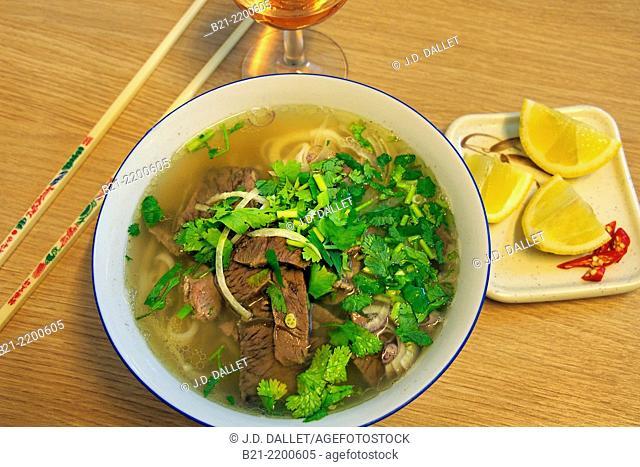 Beef soup with coriander, Vietnam