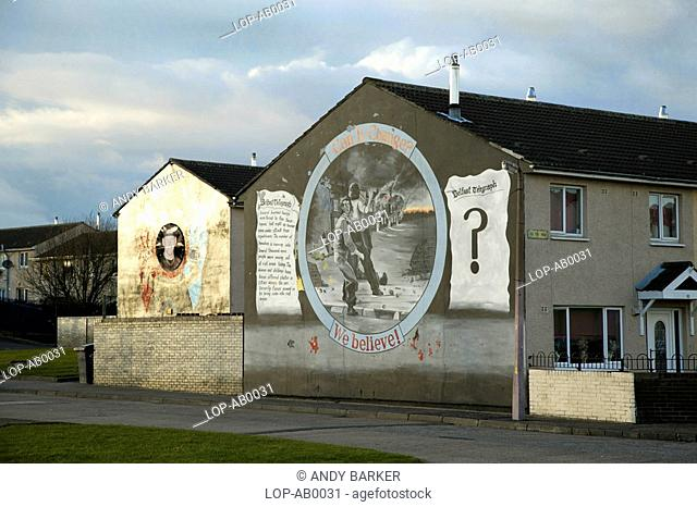 Northern Ireland, Belfast, Boundary Walk , A political mural on the side of a building in Boundary Walk
