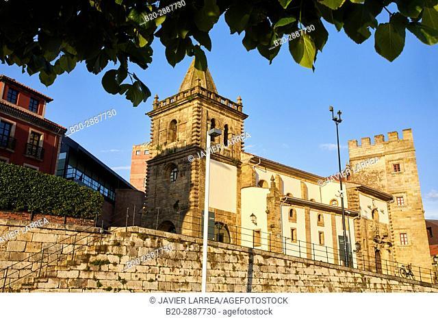 Colegiata de San Juan Bautista, Revillagigedo Palace, Port, Marina, Gijón, Asturias, Spain, Europe
