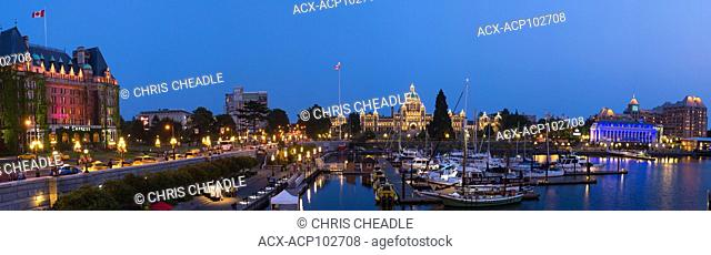 Panoramic photo of Inner Harbour and causeway with Empress Hotel and BC Parliament Buildings, Victoria, British Columbia, Canada